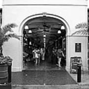 French Quarter French Market Entrance New Orleans Black And White Art Print