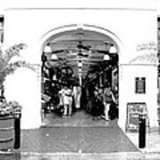French Quarter French Market Entrance New Orleans Conte Crayon Digital Art Art Print