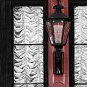 French Quarter Gas Lamp With Red Art Print