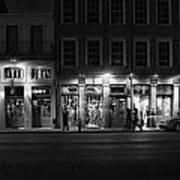 French Quarter Shopping At Night - Black And White Art Print