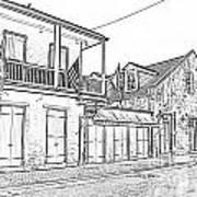 French Quarter Tavern Architecture New Orleans Black And White Photocopy Digital Art Art Print