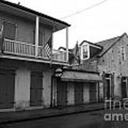 French Quarter Tavern Architecture New Orleans Black And White Art Print