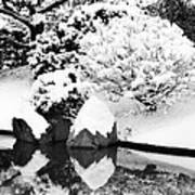 Fresh Snow And Reflections In A Japanese Garden 1 Art Print