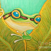 Frog Peeking Out Art Print
