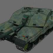 Front View Of A British Challenger II Art Print