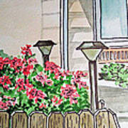 Front Yard Lights Sketchbook Project Down My Street Art Print by Irina Sztukowski