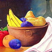 Fruit Bowl By Candle Art Print by Janna Columbus