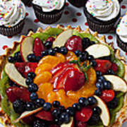 Fruit Tart Pie And Cupcakes  Art Print by Garry Gay