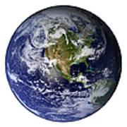 Full Earth Showing North America White Art Print