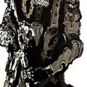 Full Length Figure Portrait Of Swat Team Leader Alpha Chicago Police In Full Uniform With War Gun Art Print by M Zimmerman MendyZ