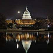 Full Moon At The Us Capitol Art Print by Metro DC Photography