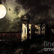 Full Moon Over Hard Time - San Quentin California State Prison - 7d18546 - Partial Sepia Art Print