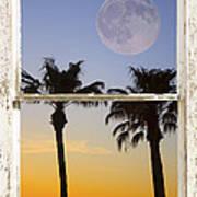 Full Moon Palm Tree Picture Window Sunset Art Print