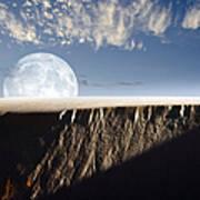 Full Moon Rising Above A Sand Dune Art Print