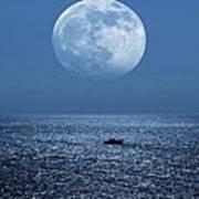 Full Moon Rising Over The Sea Art Print by Detlev Van Ravenswaay
