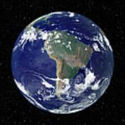 Fully Lit Earth Centered On South Art Print by Stocktrek Images