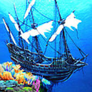 Galleon On The Cliff Filtered Art Print