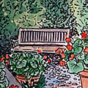 Garden Bench Sketchbook Project Down My Street Print by Irina Sztukowski