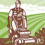 Gardener Landscaper Riding Lawn Mower Retro Art Print