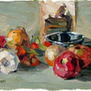 Garlic And Tomatoes Art Print