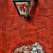 Gaslight On A Red Wall Art Print