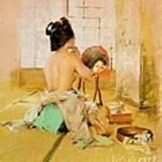 Geisha At Her Toilet Art Print