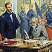 General Ulysses Grant Accepting The Surrender Of General Lee At Appomattox  Art Print by Severino Baraldi