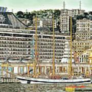Genova Cruising And Sailing Ships And Buildings Landscape Art Print