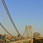George Washington Bridge And Boat Art Print
