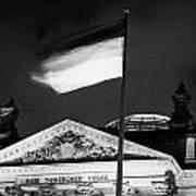 german flag flying fluttering on flagpole outside reichstag building Berlin Germany Art Print by Joe Fox
