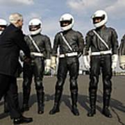 German Motorcycle Police Shake Hands Art Print by Stocktrek Images