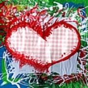 Gingham Crazy Heart Art Print