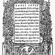 Giovio: Title Page, 1525 Art Print