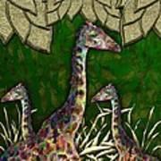 Giraffes In A Golden Forest Art Print