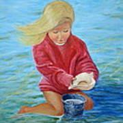 Girl At Beach #2 Art Print