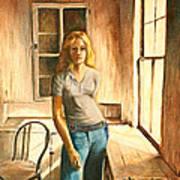 Girl At The Window Art Print by Rita Bentley