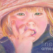 Girl In Straw Hat Art Print by Julie Brugh Riffey