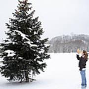Girl Measuring Tree Height Art Print