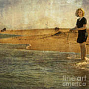 Girl On A Shore Art Print