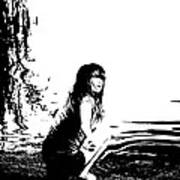 Girl On The Edge Of The Water Art Print