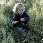 Girl Running In Wheat Field Art Print by Sami Sarkis