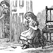 Girl Sewing, 1873 Art Print