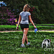 Girl Walking Dog Art Print by Paul Ward