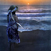 Girl Watching The Sun Go Down At The Ocean Art Print