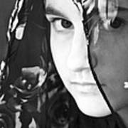 Girl With A Rose Veil 3 Bw Art Print