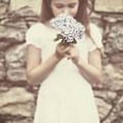 Girl With Hydrangea Art Print