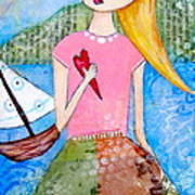 Girl With The White Boat Art Print