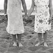 Girls Holding Hand On Beach Art Print by Michelle Quance