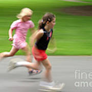 Girls Running Art Print