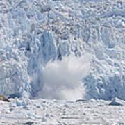 Glacial Ice Calving Into The Water Art Print